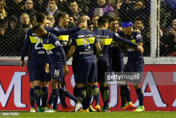 Ricardo Centurion of Boca Juniors celebrates after scoring the first goal of his team during a match between Olimpo and Boca Juniors as part of...