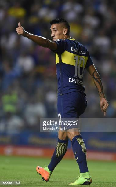 Ricardo Centurion of Boca Juniors gives a thumb up during a match between Boca Juniors and Defensa y Justicia as part of Torneo Primera Division...