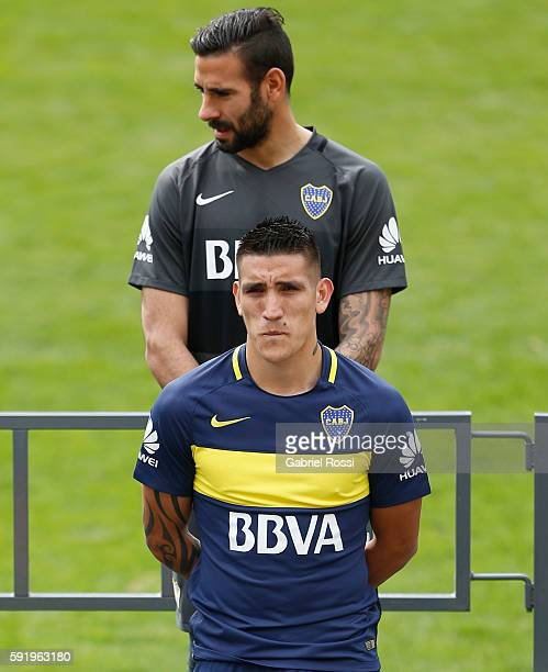 Ricardo Centurion of Boca Juniors looks on during Boca Juniors team presentation at Alberto J Armando Stadium on August 19 2016 in Buenos Aires...