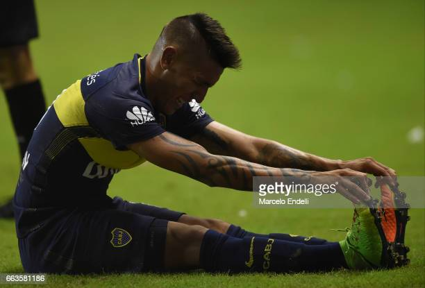 Ricardo Centurion of Boca Juniors reacts during a match between Boca Juniors and Defensa y Justicia as part of Torneo Primera Division 2016/17 at...