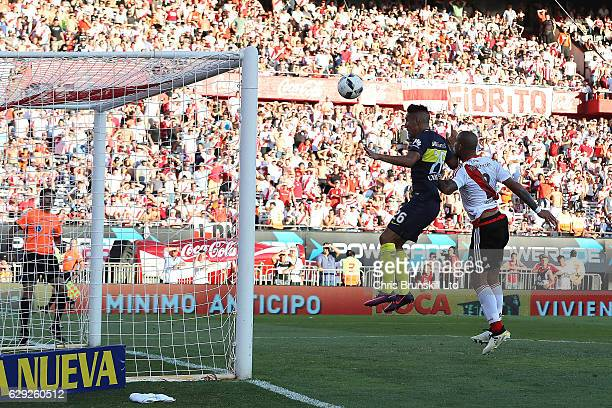 Ricardo Centurion of Boca Juniors scores his sides fourth goal during the Argentine Primera Division match between River Plate and Boca Juniors at...