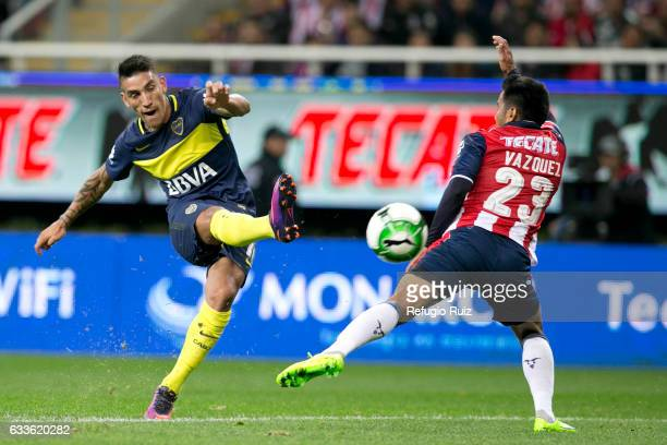 Ricardo Centurion of Boca Juniors takes a shot during a friendly match between Chivas and Boca Juniors at Chivas Stadium on February 02 2017 in...