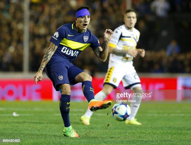 Ricardo Centurion of Boca Juniors takes a shot during a match between Olimpo and Boca Juniors as part of Torneo Primera Division 2016/17 at Roberto...