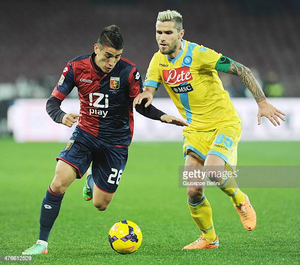 Ricardo Centurion of Genoa and Valon Behrami of Napoli in action during the Serie A match between SSC Napoli and Genoa CFC at Stadio San Paolo on...