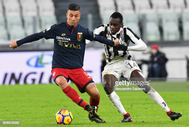 Ricardo Centurion of Genoa CFC competes for the ball whit Blaise Matuidi of Juventus during the Serie A match between Juventus and Genoa CFC on...