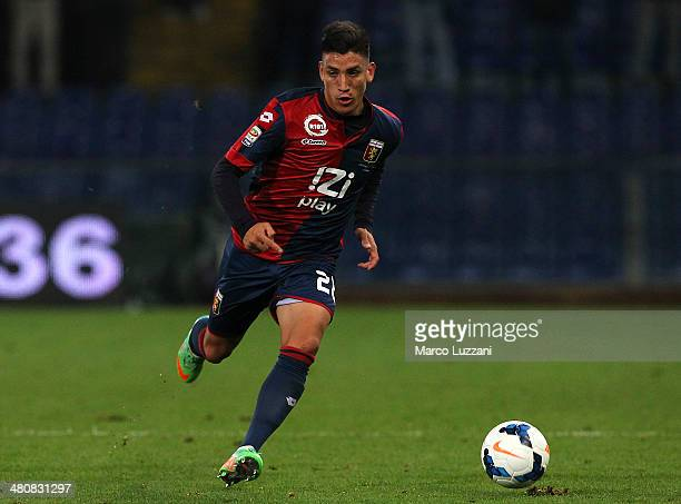 Ricardo Centurion of Genoa CFC in action during the serie A match between Genoa CFC and SS Lazio at Stadio Luigi Ferraris on March 26 2014 in Genoa...