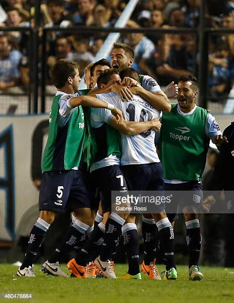 Ricardo Centurion of Racing Club and teammates celebrate the opening goal during a match between Racing Club and Godoy Cruz as part of 19th round of...