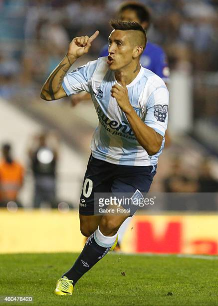 Ricardo Centurion of Racing Club celebrates after scoring the opening goal during a match between Racing Club and Godoy Cruz as part of 19th round of...