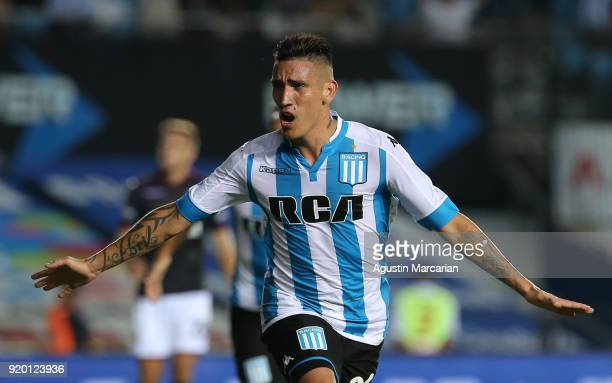 Ricardo Centurion of Racing Club celebrates after scoring the secong goal of his team during a match between Racing Club and Lanus as part of...