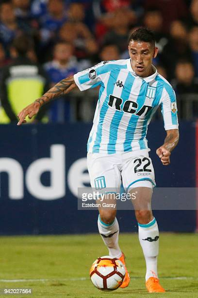 Ricardo Centurion of Racing Club drives the ball during a Copa CONMEBOL Libertadores 2018 Group E match between U de Chile and Racing Club on April 3...