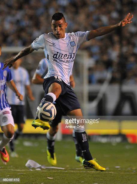 Ricardo Centurion of Racing Club tries to control the ball during a match between Racing Club and Godoy Cruz as part of 19th round of Torneo de...