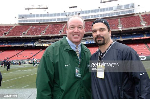 Ricardo Chavira meets with New York Jets alum and Radio Host Marty Lyons when they attend the New York Jets vs Tampa Bay Buccaneers game at The...