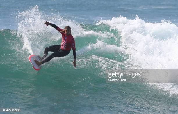 Ricardo Christie of New Zealand celebrates during heat 2 of round 5 of the WQS EDP Billabong Pro Ericeira of Surfing at Riberira D'Ilhas beach on...