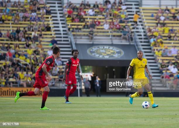 Ricardo Clark of Columbus Crew SC controls the ball during the game between the Columbus Crew SC and the Toronto FC at MAPFRE Stadium in Columbus...