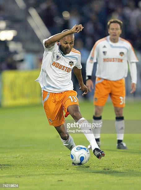 Ricardo Clark of the Houston Dynamo controls the ball against the Colorado Rapids at Dick's Sporting Goods Park on May 5 2007 in Commerce City...