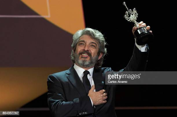 Ricardo Darin receives the Donostia Award at the Kursaal Palace during the 65th San Sebastian International Film Festival on September 26 2017 in San...