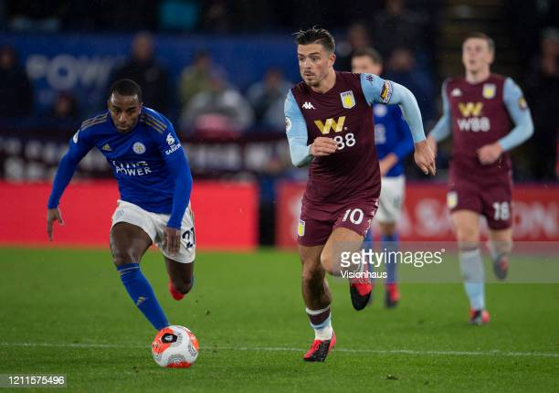 Ricardo Domingos Barbosa Pereira of Leicester City and Jack Grealish of Aston Villa during the Premier League match between Leicester City and Aston...