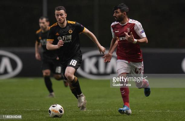 Ricardo Esgaio of SC Braga with Diogo Jota of Wolverhampton Wanderers in action during the Group K UEFA Europa League match between SC Braga and...