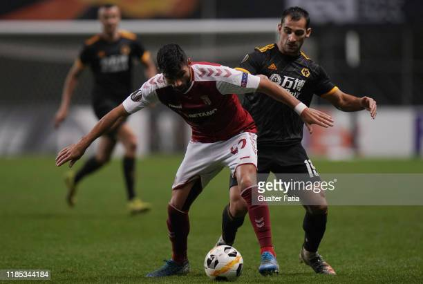 Ricardo Esgaio of SC Braga with Jonny of Wolverhampton Wanderers in action during the Group K UEFA Europa League match between SC Braga and...