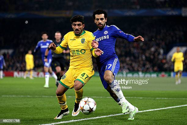 Ricardo Esgaio of Sporting Lisbon and Mohamed Salah of Chelsea during the UEFA Champions League group G match between Chelsea and Sporting Clube de...