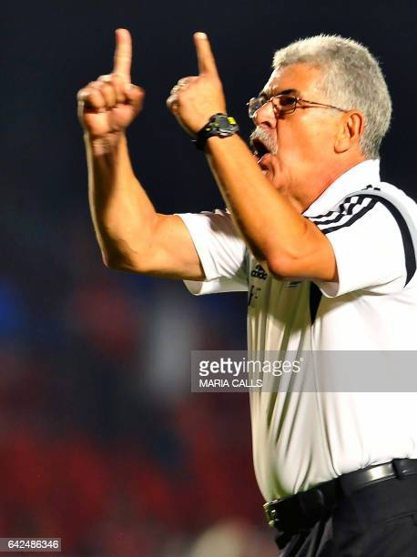 Ricardo Ferreti coach of Tigres argues with fans of Veracruz after the match during their Mexican Clausura 2017 Tournament football match at Luis...