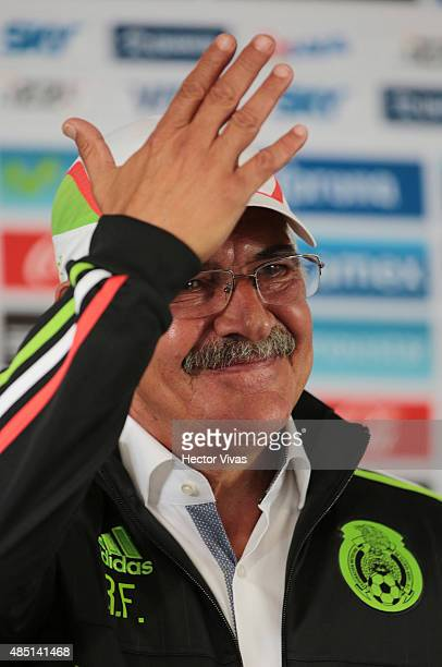 Ricardo Ferreti head coach of Mexico's National Soccer Team gestures during a press conference to unveil him as new coach of Mexico at Alto...