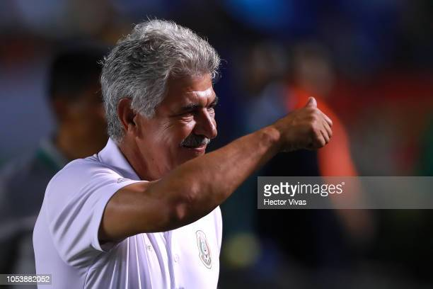 Ricardo Ferretti coach of Mexico gestures during the international friendly match between Mexico and Costa Rica at Universitario Stadium on October...