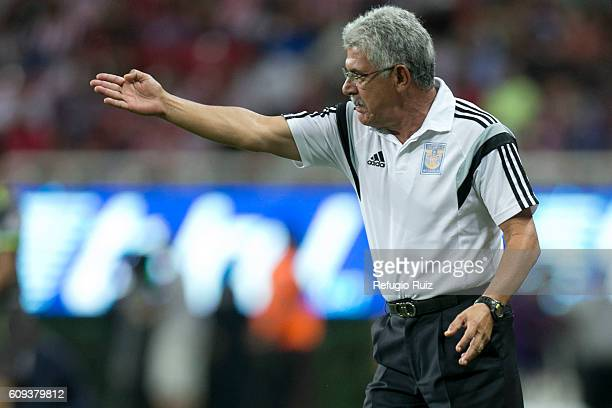 Ricardo Ferretti coach of Tigres gives instructions to his players during the 10th round match between Chivas and Tigres as part of the Torneo...
