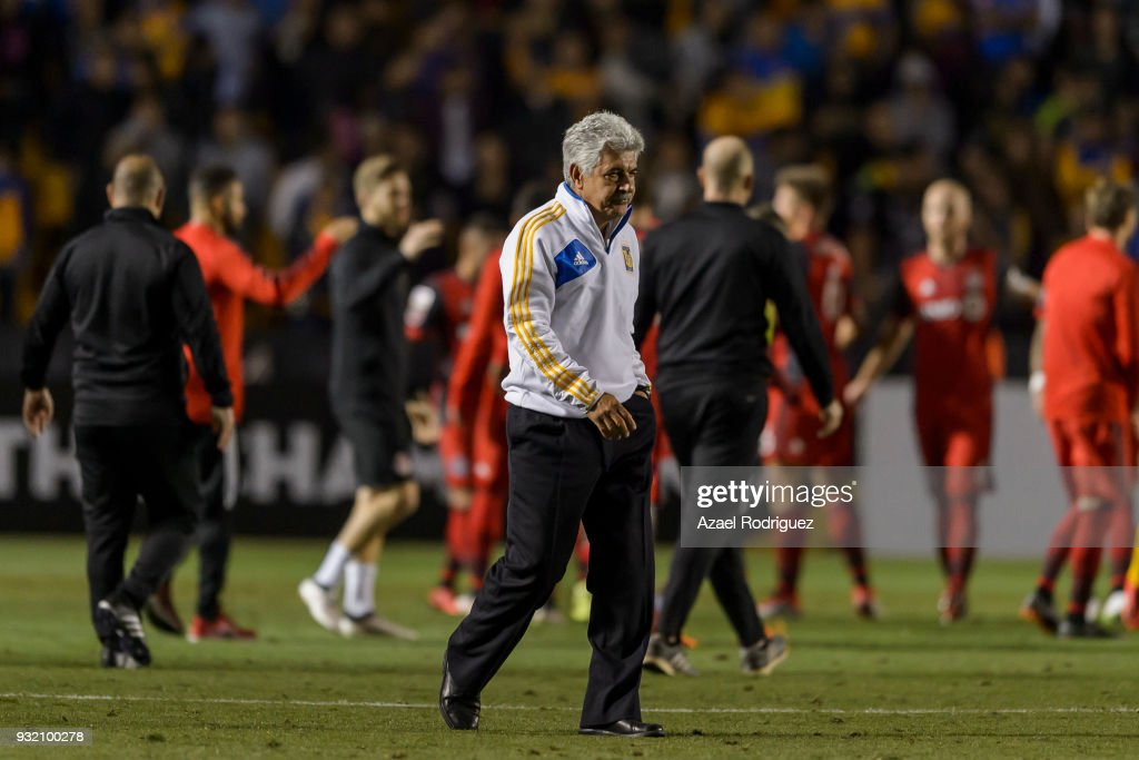 Ricardo Ferretti, coach of Tigres, leaves the field at the end of the quarterfinals second leg match between Tigres UANL and Toronto FC as part of the CONCACAF Champions League 2018 at Universitario Stadium on March 13, 2018 in Monterrey, Mexico.