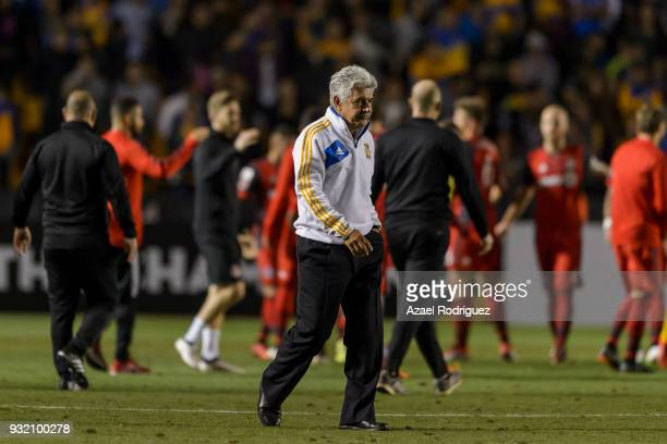 Ricardo Ferretti coach of Tigres leaves the field at the end of the quarterfinals second leg match between Tigres UANL and Toronto FC as part of the...