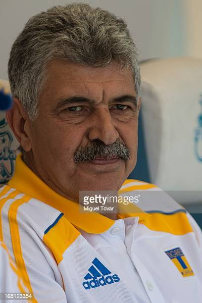 Ricardo Ferretti coach of Tigres looks on the field during a match between Puebla and Tigres as part of the Clausura 2013 at Cuauhtemoc stadium on...