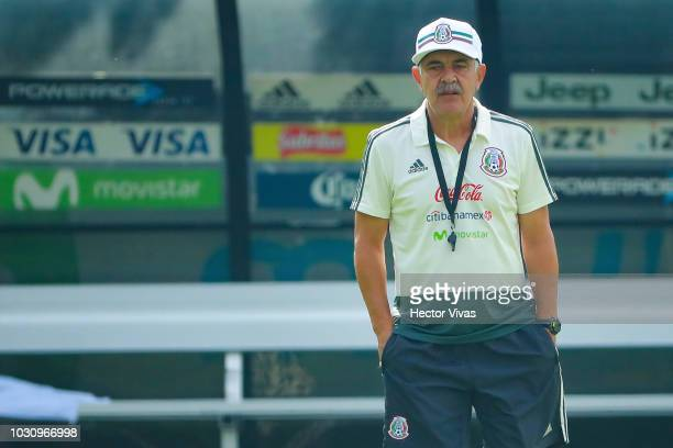 Ricardo Ferretti head coach of Mexico looks on during Mexico National Team training session ahead of the international friendly match against Uruguay...