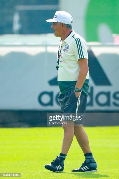 Ricardo Ferretti head coach of Mexico walks during Mexico National Team training session ahead of the international friendly match against Uruguay at...