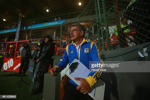 Ricardo Ferretti head coach of Tigres leaves the tunnel during a match between Toluca and Tigres UANL as part of the 13th round of Clausura 2014 Liga...