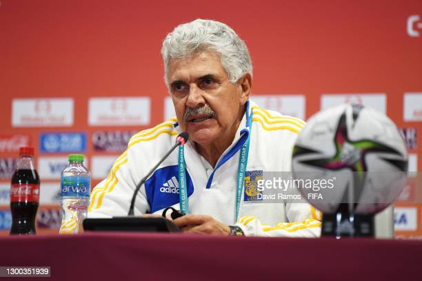 Ricardo Ferretti, Manager of Tigres UANL looks on during a Post Match Press Conference during the FIFA Club World Cup Qatar 2020 Second Round match...