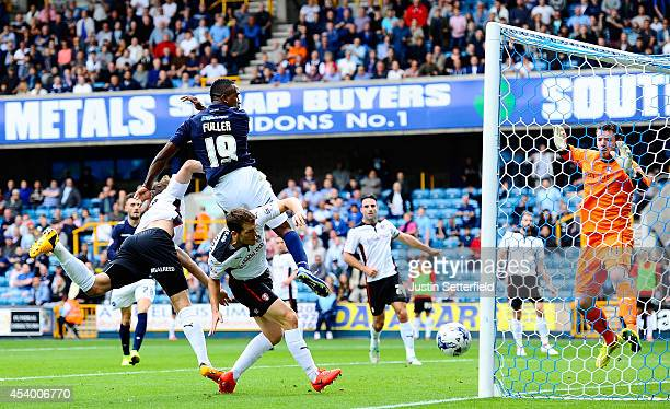 Ricardo Fuller of Millwall FC sees a chance go just wide during the Sky Bet Championship match between Millwall and Rotherham United at The Den on...