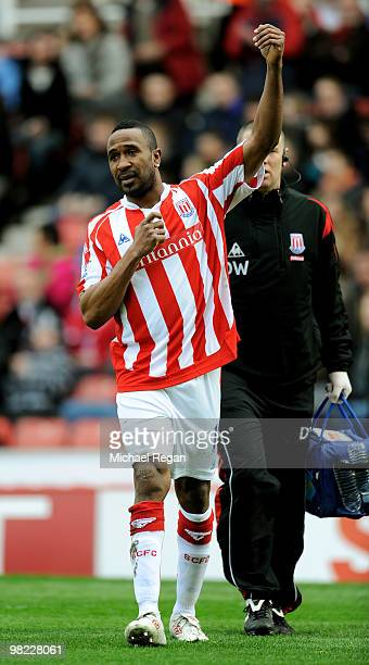 Ricardo Fuller of Stoke celebrates after being injured scoring the first goal during the Barclays Premier League match between Stoke City and Hull...