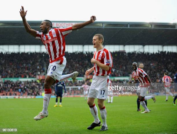 Ricardo Fuller of Stoke celebrates scoring the first goal during the FA Cup sponsored by E.ON Fourth Round match between Stoke City and Arsenal at...
