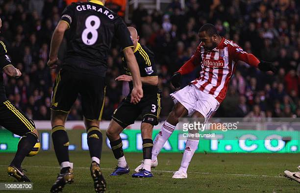 Ricardo Fuller of Stoke City scores the first goal during the Barclays Premier League match between Stoke City and Liverpool at Britannia Stadium on...
