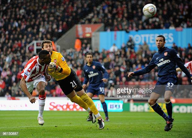 Ricardo Fuller of Stoke scores the first goal during the FA Cup sponsored by E.ON Fourth Round match between Stoke City and Arsenal at The Britannia...