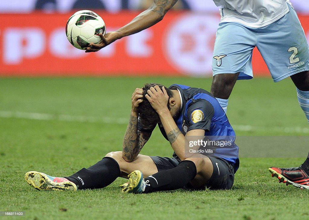 Ricardo Gabriel Alvarez of FC Inter shows his dejection during the Serie A match between FC Internazionale Milano and S.S. Lazio at San Siro Stadium on May 8, 2013 in Milan, Italy.