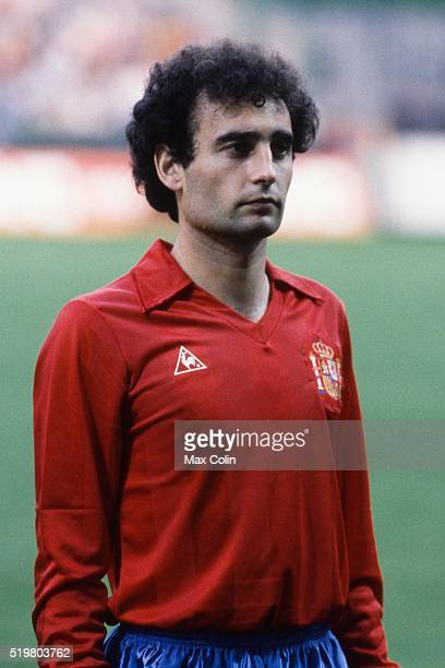 Ricardo Gallego during the Football European Championship between Romania and Spain at Stade Geoffroy Guichard SaintEtienne France on 14 June 1984