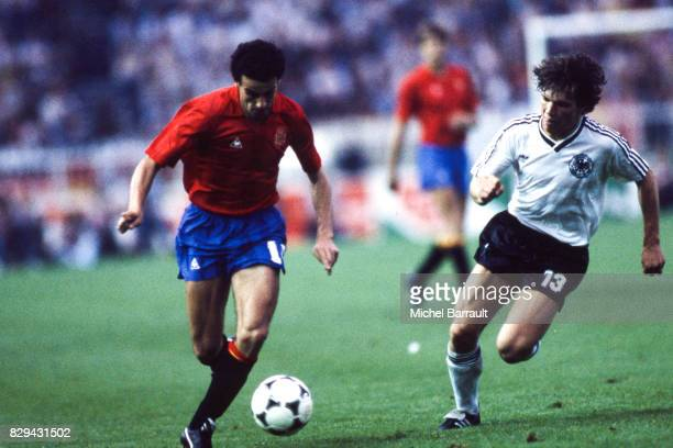 Ricardo Gallego of Spain and Lothar Matthaus of West Germany during the European Championship match between Spain and West Germany at Parc des...