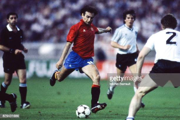 Ricardo Gallego of Spain during the European Championship match between Spain and West Germany at Parc des Princes Paris France on 20th June 1984