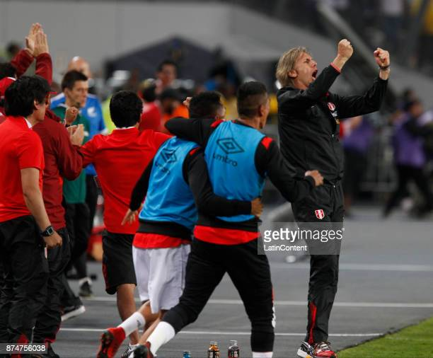 Ricardo Gareca celebrates his team's second goal during a second leg match between Peru and New Zealand as part of the 2018 FIFA World Cup Qualifier...