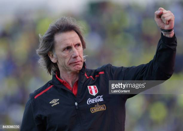 Ricardo Gareca coach of Peru celebrates after a match between Ecuador and Peru as part of FIFA 2018 World Cup Qualifiers at Olimpico Atahualpa...