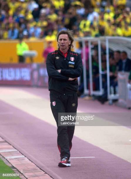 Ricardo Gareca coach of Peru gestures during a match between Ecuador and Peru as part of FIFA 2018 World Cup Qualifiers at Olimpico Atahualpa Stadium...