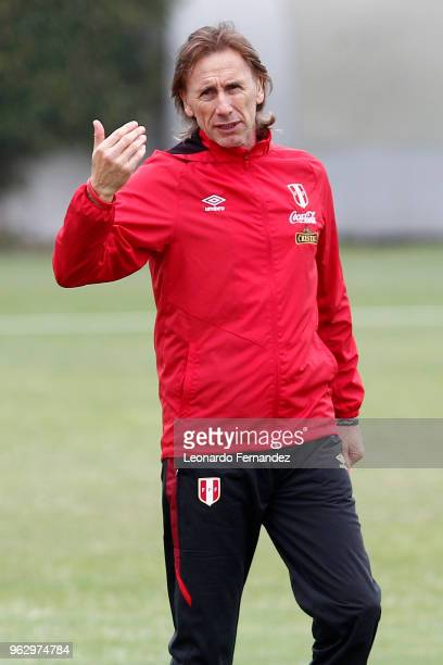 Ricardo Gareca Coach of PERU GESTURES during a training session ahead of FIFA World Cup Russia 2018 on May 25 2018 in Lima Peru