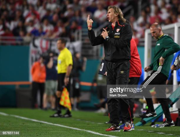 Ricardo Gareca coach of Peru gestures during the international friendly match between Peru and Croatia at Hard Rock Stadium on March 23 2018 in Miami...