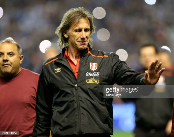 Ricardo Gareca coach of Peru greets before a match between Argentina and Peru as part of FIFA 2018 World Cup Qualifiers at Estadio Alberto J Armando...